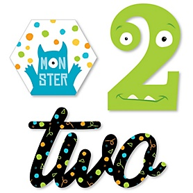 2nd Birthday Monster Bash - DIY Shaped Little Monster Second Birthday Party Cut-Outs - 24 ct