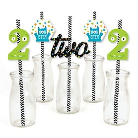 2nd Birthday Monster Bash - Paper Straw Decor - Little Monster Second Birthday Party Striped Decorative Straws - Set of 24