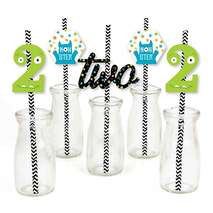 2nd Birthday Monster Bash - Paper Straw Decor - Little Monster Second Birthday Party Striped Decorative Straws - Set of 24