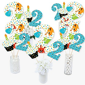 2nd Birthday Monster Bash - Little Monster Second Birthday Party Centerpiece Sticks - Table Toppers - Set of 15