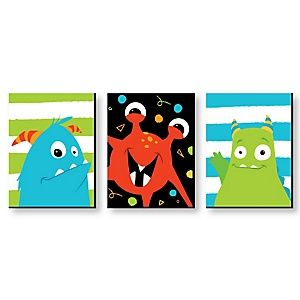 Monster Bash - Nursery Wall Art & Kids Room Décor - 7.5 x 10 inches - Set of 3 Prints