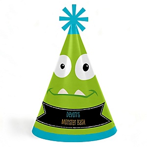 Monster Bash - Personalized Cone Little Monster Happy Birthday Party Hats for Kids and Adults - Set of 8 (Standard Size)