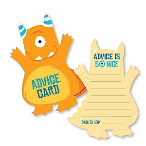 Monster Bash - Wish Card Little Monster Baby Shower Activities - Shaped Advice Cards Game - Set of 20