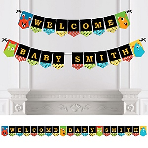 Monster Bash - Personalized Little Monster Birthday Party or Baby Shower Bunting Banner & Decorations