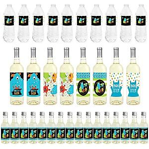Monster Bash - Mini Wine Bottle Labels, Wine Bottle Labels and Water Bottle Labels - Little Monster Birthday Party or Baby Shower Decorations - Beverage Bar Kit - 34 Pieces
