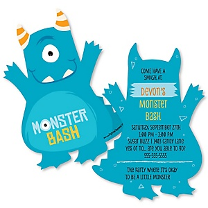 Monster Bash - Shaped Little Monster Birthday Party Invitations - Set of 12