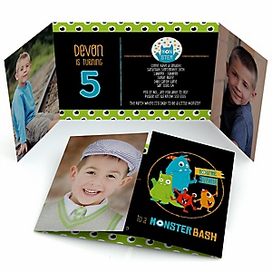 Monster Bash - Personalized Little Monster Birthday Party Photo Invitations - Set of 12