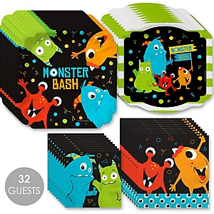 Monster Bash - Little Monster Birthday Party or Baby Shower Tableware Plates and Napkins - Bundle for 32