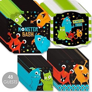 Monster Bash - Little Monster Birthday Party or Baby Shower Tableware Plates and Napkins - Bundle for 48
