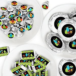 Monster Bash - Mini Candy Bar Wrappers, Round Candy Stickers and Circle Stickers - Little Monster Birthday Party or Baby Shower Candy Favor Sticker Kit - 304 Pieces