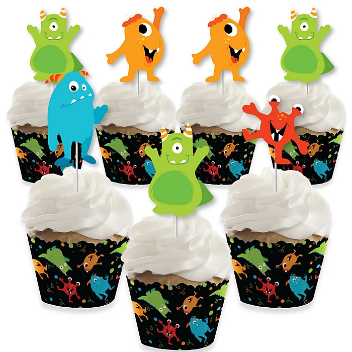 Monster Bash - Cupcake Decorations - Little Monster Birthday Party or Baby Shower Cupcake Wrappers and Treat Picks Kit - Set of 24