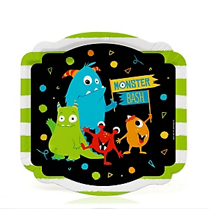 Monster Bash - Little Monster Birthday Party or Baby Shower Dessert Plates  - 16 ct