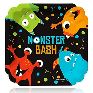 Monster Bash - Little Monster Birthday Party or Baby Shower Dinner Plates - 16 ct