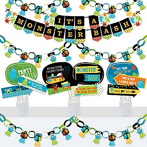 Monster Bash - Banner and Photo Booth Decorations - Little Monster Birthday Party or Baby Shower Supplies Kit - Doterrific Bundle