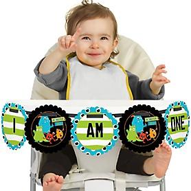 Monster Bash 1st Birthday - I am One - Little Monster First Birthday High Chair Birthday Banner