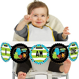 Monster Bash 1st Birthday - I am One - Little Monster First Birthday High Chair Birthday Banner