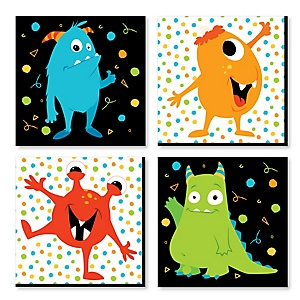 Monster Bash - Kids Room, Nursery Décor and Home Décor - 11 x 11 inches Nursery Wall Art - Set of 4 Prints for Baby's Room