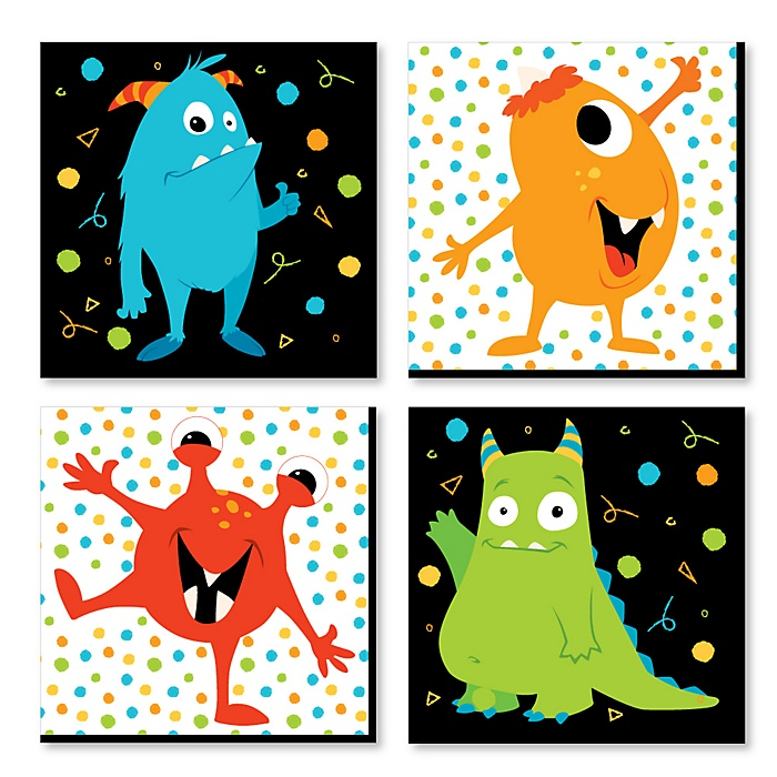 Monster Bash - Kids Room, Nursery Decor and Home Decor - 11 x 11 inches Nursery Wall Art - Set of 4 Prints for Baby's Room