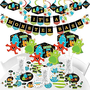 Monster Bash - Little Monster Birthday Party or Baby Shower Supplies - Banner Decoration Kit - Fundle Bundle