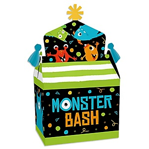 Monster Bash - Treat Box Party Favors - Little Monster Birthday Party or Baby Shower Goodie Gable Boxes - Set of 12