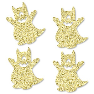 Gold Glitter Monster - No-Mess Real Gold Glitter Cut-Outs - Little Monster Birthday Party or Baby Shower Confetti - Set of 24