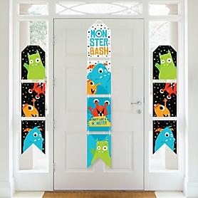 Monster Bash - Hanging Vertical Paper Door Banners - Little Monster Birthday Party or Baby Shower Wall Decoration Kit - Indoor Door Decor
