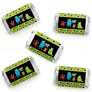 Monster Bash - Mini Candy Bar Wrapper Stickers - Little Monster Birthday Party or Baby Shower Small Favors - 40 Count