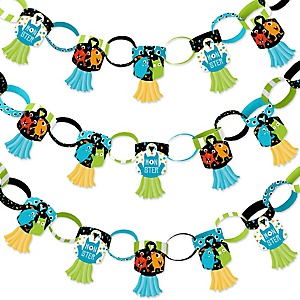 Monster Bash - 90 Chain Links and 30 Paper Tassels Decoration Kit - Little Monster Birthday Party or Baby Shower Paper Chains Garland - 21 feet