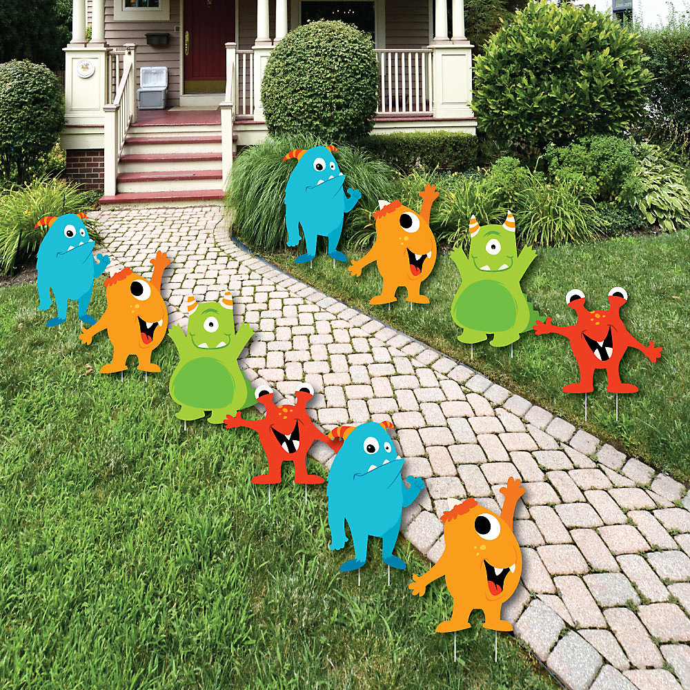 Monster Bash Lawn Decorations Outdoor Little Birthday Party Or Baby Shower Yard 10 Piece