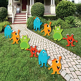 Monster Bash - Lawn Decorations - Outdoor Little Monster Birthday Party or Baby Shower Yard Decorations - 10 Piece
