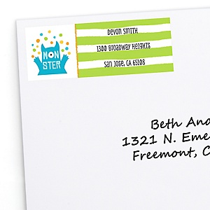 Monster Bash - Personalized Little Monster Birthday Party or Baby Shower Return Address Labels - 30 ct