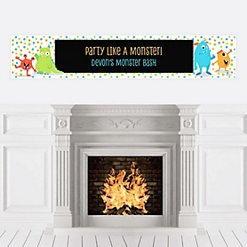 Monster Bash - Personalized Little Monster Birthday Party or Baby Shower Banner
