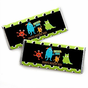 Monster Bash - Personalized Candy Bar Wrapper Little Monster Birthday Party or Baby Shower Favors - Set of 24