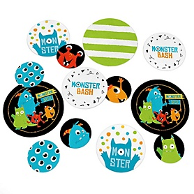 Monster Bash - Little Monster Birthday Party or Baby Shower Giant Circle Confetti - Party Decorations - Large Confetti 27 Count