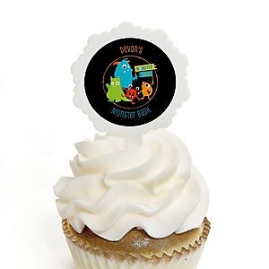 Monster Bash - Cupcake Picks with Personalized Stickers - Little Monster Birthday Party or Baby Shower Cupcake Toppers - 12 ct