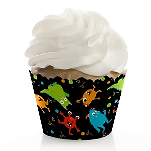 Monster Bash - Little Monster Birthday Party or Baby Shower Decorations - Party Cupcake Wrappers - Set of 12