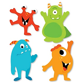 Monster Bash - DIY Shaped Little Monster Birthday Party or Baby Shower Cut-Outs - 24 ct