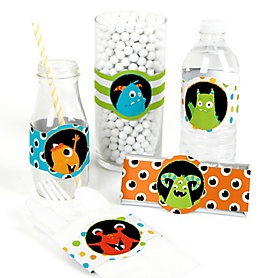 Monster Bash - DIY Party Supplies - Little Monster Birthday Party or Baby Shower DIY Wrapper Favors & Decorations - Set of 15