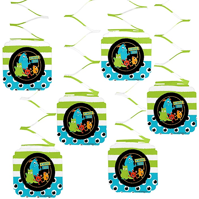 Monster Bash - Little Monster Birthday Party or Baby Shower Hanging Decorations - 6 ct
