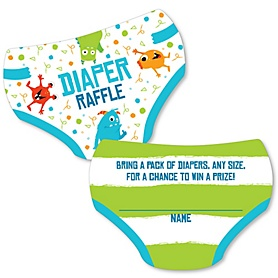 Monster Bash - Diaper Shaped Raffle Ticket Inserts - Little Monster Baby Shower Activities - Diaper Raffle Game - Set of 24