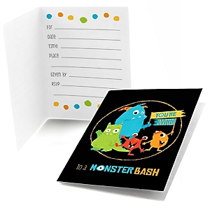 Monster Bash - Fill In Little Monster Birthday Party or Baby Shower Invitations - 8 ct
