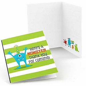 Monster Bash - Little Monster Birthday Party or Baby Shower Thank You Cards - 8 ct