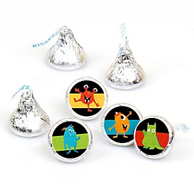 Monster Bash - Little Monster Birthday Party or Baby Shower Round Candy Sticker Favors - Labels Fit Hershey's Kisses  - 108 ct