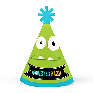 Monster Bash - Personalized Mini Cone Little Monster Birthday Party or Baby Shower Hats - Small Little Party Hats - Set of 10
