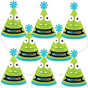Monster Bash - Mini Cone Little Monster Birthday Party or Baby Shower Hats - Small Little Party Hats - Set of 8