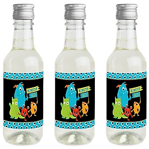 Monster Bash - Mini Wine and Champagne Bottle Label Stickers - Little Monster Birthday Party or Baby Shower Favor Gift for Women and Men - Set of 16