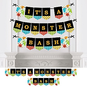 Monster Bash - Little Monster Birthday Party or Baby Shower Bunting Banner - Party Decorations - It's a Monster Bash