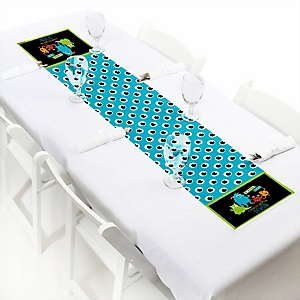 "Monster Bash - Personalized Petite Little Monster Birthday Party or Baby Shower Table Runner - 12"" x 60"""