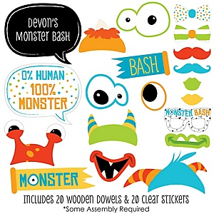 Monster Bash - 20 Piece Little Monster Birthday Party or Baby Shower Photo Booth Props Kit