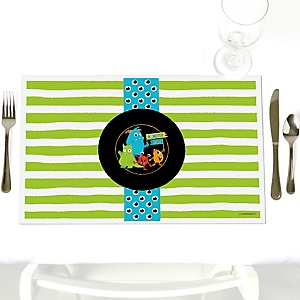 Monster Bash - Party Table Decorations - Little Monster Birthday Party or Baby Shower Placemats - Set of 12
